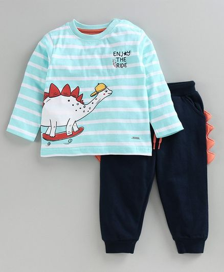 Babyoye Cotton Full Sleeves Stripe Tee & Lounge Pant Dino Print & Design - Blue