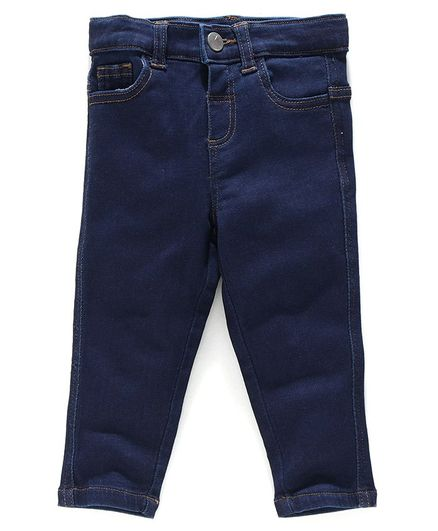Babyoye Cotton Lycra Full Length Adjustable Elasticated Jeans - Dark Blue