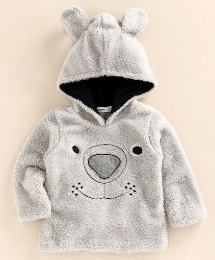 Babyoye Full Sleeves Hooded Sweatshirt Bear Design - Grey