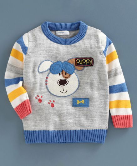 Babyoye Acrylic Full Sleeves Sweater Puppy Embroidery - Grey