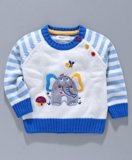 Babyoye Acrylic Full Sleeves Sweater Elephant Patch - White Blue