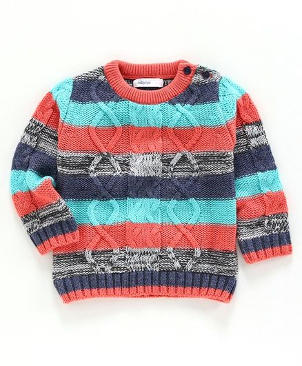 Babyoye Full Sleeves Striped Sweater - Red Blue