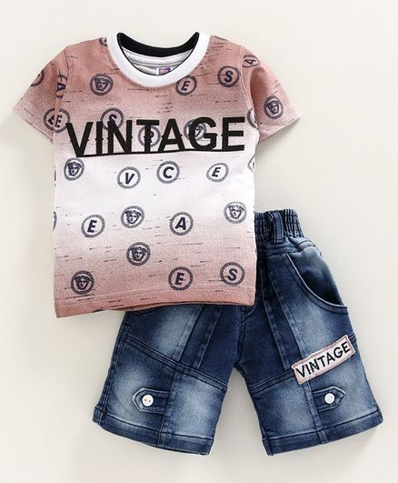 Nottie Planet Half Sleeves Vintage Printed T-Shirt With Denim Shorts - Brown