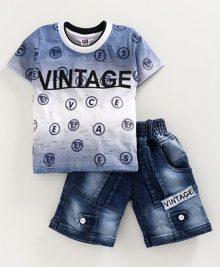 Nottie Planet Half Sleeves Vintage Printed T-Shirt With Denim Shorts - Blue