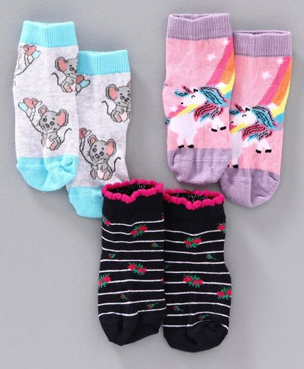 Mustang Ankle Length Socks Pack of 3 - Blue, Black & Pink
