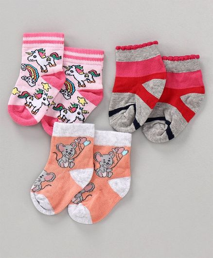 Mustang Ankle Length Socks Pack of 3 -  Red Pink Orange