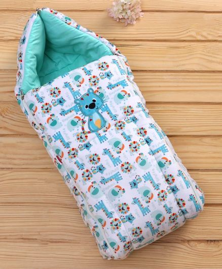 Babyhug Velvet Sleeping Bag Animal Design - White Green