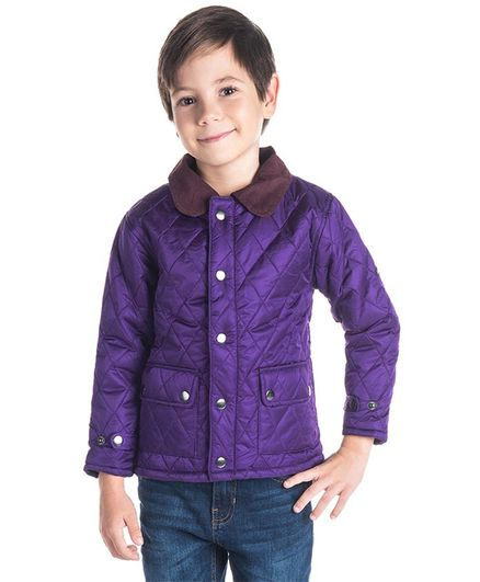 Cherry Crumble By Nitt Hyman Full Sleeves Solid Colour Jacket - Purple