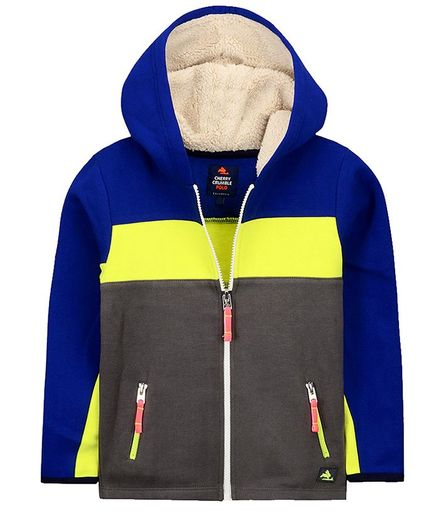 Cherry Crumble By Nitt Hyman Full Sleeves Colour Block Pattern Hooded Jacket - Grey & Blue