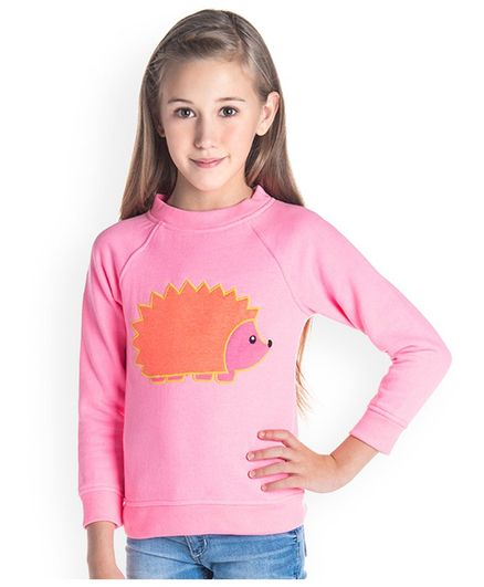 Cherry Crumble By Nitt Hyman Full Sleeves Porcupine Printed Sweatshirt - Pink