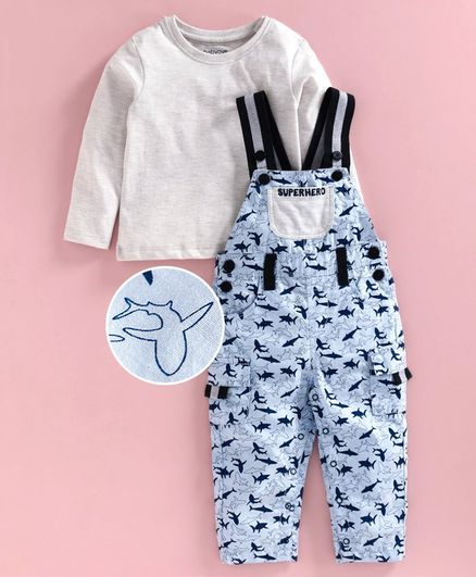 Babyoye Cotton Dungaree With Top and Shark Print - Grey Blue