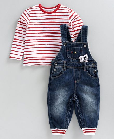 Babyoye Cotton Rib Denim Dungaree style Romper with Full Sleeves Striped Inner Tee - Blue