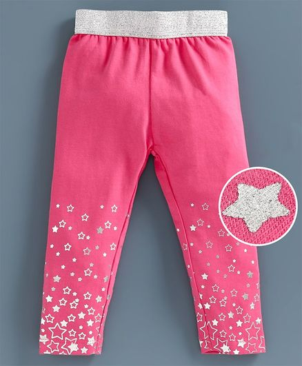 Babyoye Full Length Leggings Star Print - Hot Pink