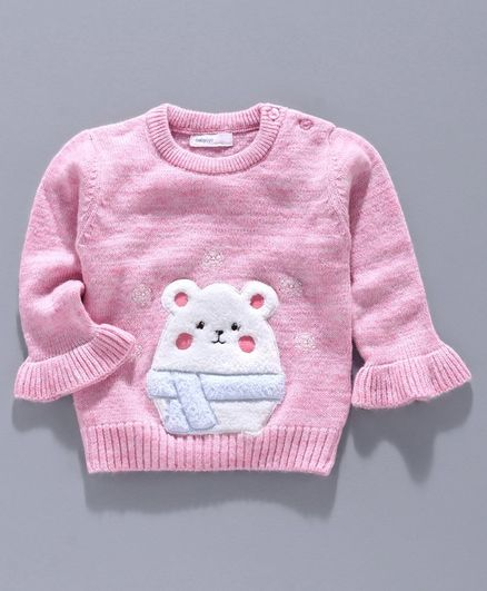 Babyoye Circular Flounce Sleeves Sweater Bear Embroidery - Pink