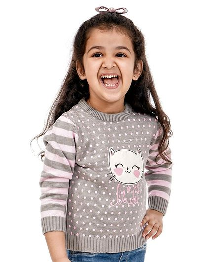 Babyoye Full Sleeves Sweater Kitty Patch - Grey Pink