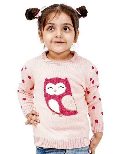 Babyoye Full Sleeves Sweater Owl Patch - Light Pink