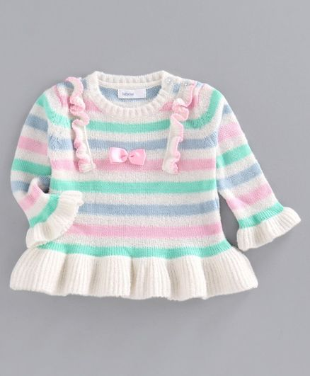 Babyoye Striped Full Sleeves Sweater - White