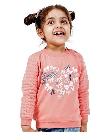 Babyoye Brushed Fleece Full Sleeves Sweatshirt Bow Print - Pink
