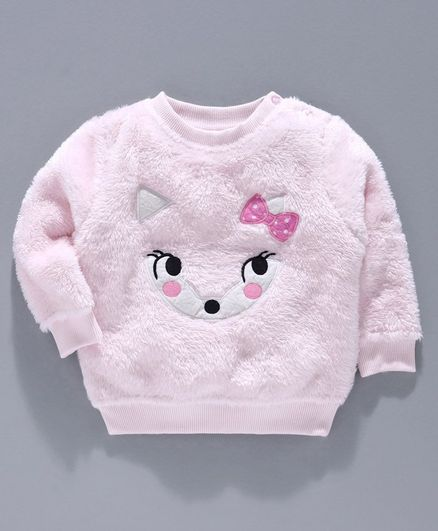 Babyoye Brushed Fleece Full Sleeves Sweatshirt Animal Embroidery - Light Pink