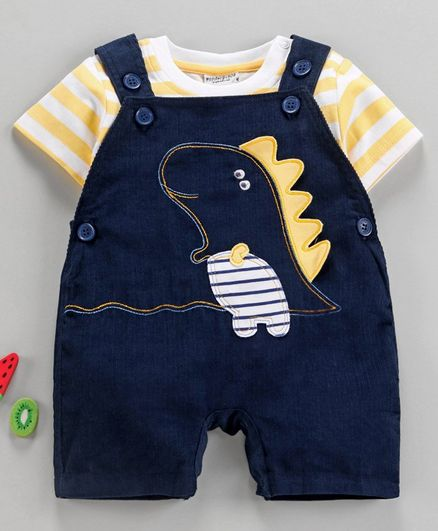 Wonderchild Striped Half Sleeves Tee With Dungaree Style Romper - Yellow & Navy Blue