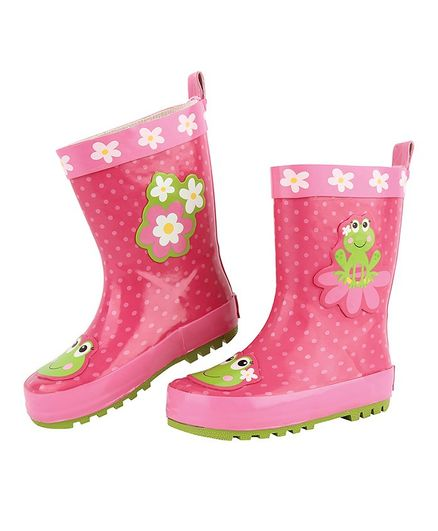Stephen Joseph Flower & Frog Patch Detailing Rain Boots - Pink