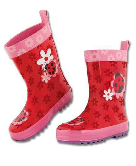 Stephen Joseph Ladybug Patch Detailing Ankle Length Rain Boots - Red