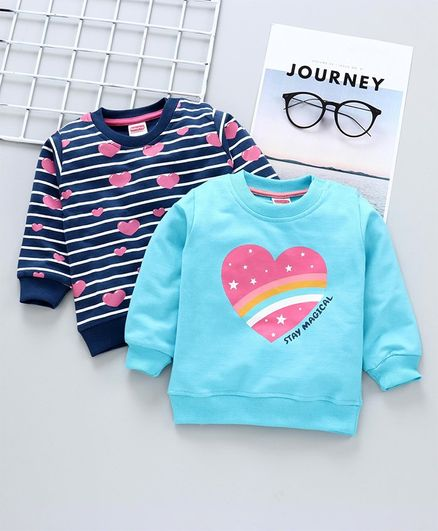 Babyhug Full Sleeves Sweatshirts Heart Print Pack of 2 - Blue