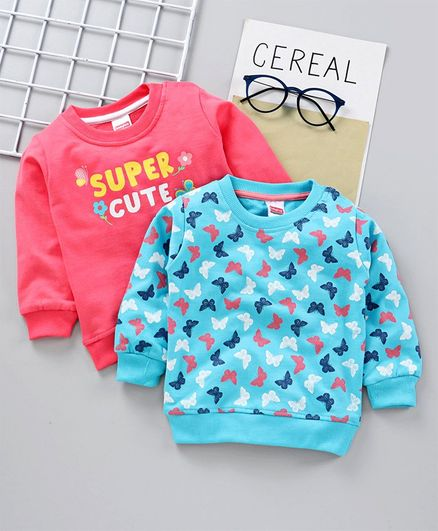 Babyhug Full Sleeves Sweatshirt Text & Butterfly Print Pack of 2 - Pink Blue