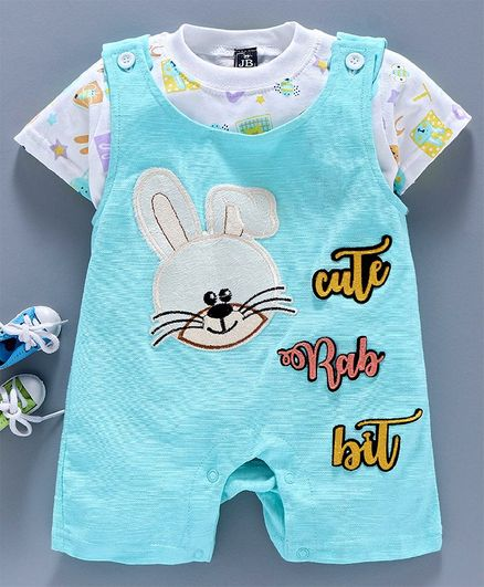 Jb Club Half Sleeves T-Shirt With Rabbit Patch Work Romper Set  - Blue