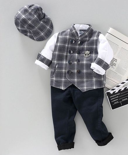 Dapper Dudes Full Sleeves Shirt With Checkered Waistcoat & Pant With Cap - Navy Blue