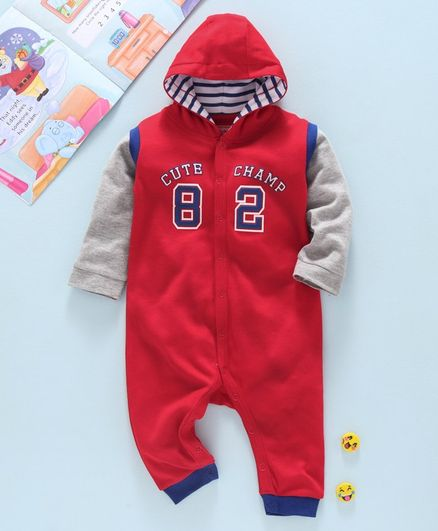 Babyhug 100% Cotton Full Sleeves Hooded Romper Numeric 82 Print - Red Grey
