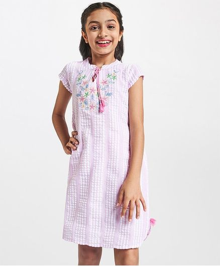 Global Desi Girl Flower Embroidered Short Sleeves Dress - Pink