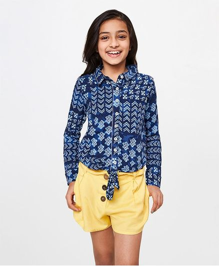 Global Desi Girl Shirt Style Printed Full Sleeves Knot Top - Blue