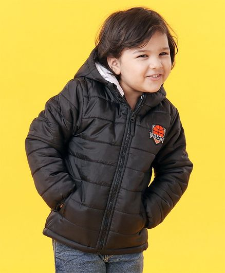 Babyhug Full Sleeves Hooded Padded Winter Jacket Basketball Patch - Black