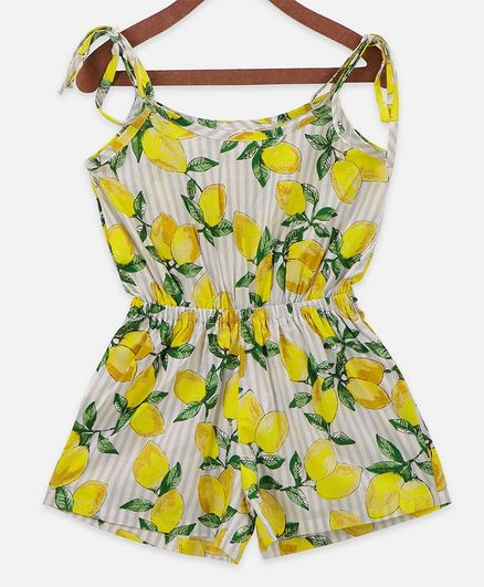Lilpicks Couture Sleeveless Lemon Printed Jumpsuit - Multicolor