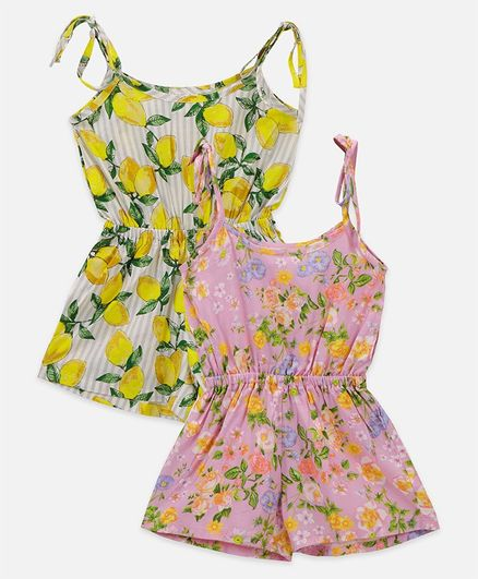 Lilpicks Couture Sleeveless Floral Printed Pack Of 2 Jumpsuit - Multicolor