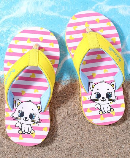 Cute Walk by Babyhug Stripe Flip Flops Kitty Print - Pink White