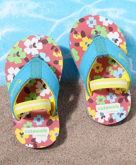 Cute Walk by Babyhug Flip Flops With Back Strap Floral Print - Pink Blue
