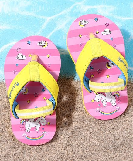 Cute Walk by Babyhug Flip Flops with Back Strap Unicorn Print - Pink Yellow