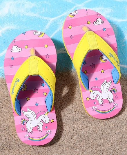 Cute Walk by Babyhug Flip Flops Unicorn Print - Pink Yellow