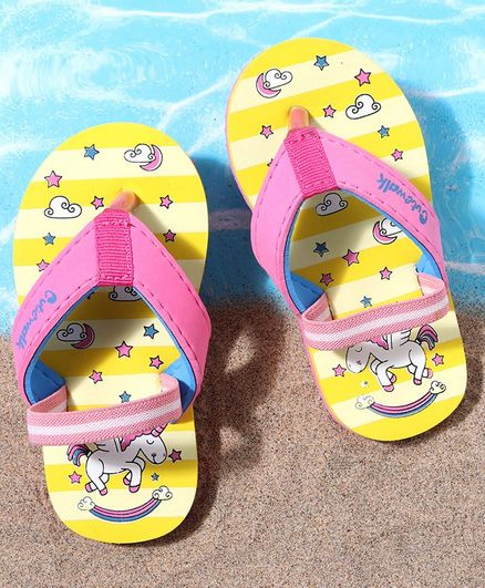 Cute Walk by Babyhug Flip Flops with Back Strap Unicorn Print - Yellow Pink