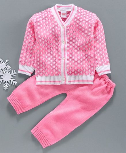 Babyhug Full Sleeves Sweater Set - Pink