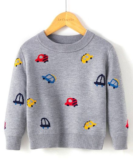 Kookie Kids Full Sleeves Sweater Car Design - Grey