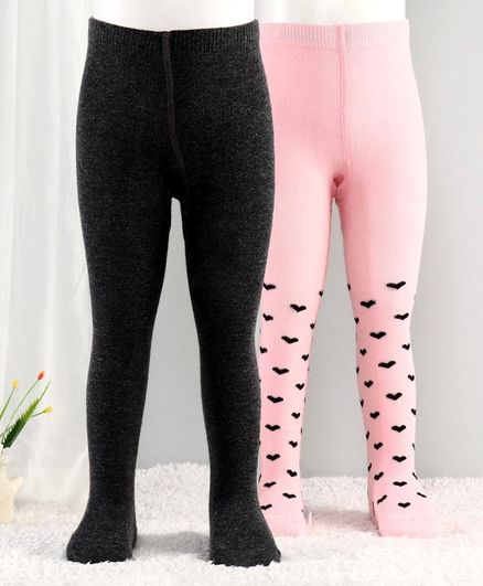 Cutewalk By Babyhug Anti-Bacterial Footed Tights Hearts Design Pack of 2 - Black Pink