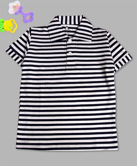 Crazy Penguin Half Sleeves Striped Polo Neck T-Shirt - Black & White