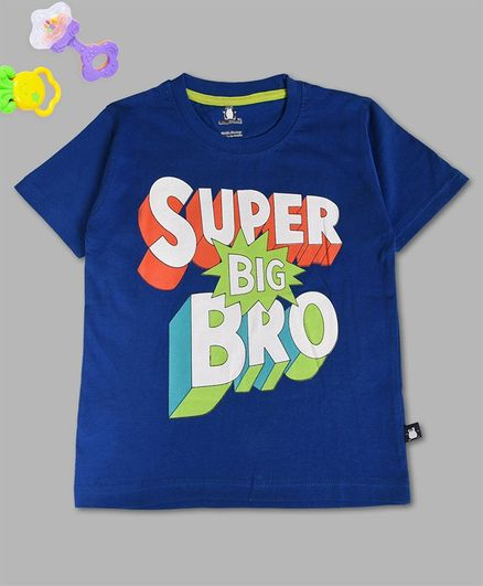 Crazy Penguin Half Sleeves Super Big Bro Print T-Shirt - Blue