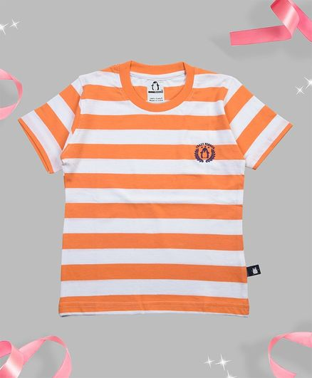 Crazy Penguin Half Sleeves Striped T-Shirt - Orange
