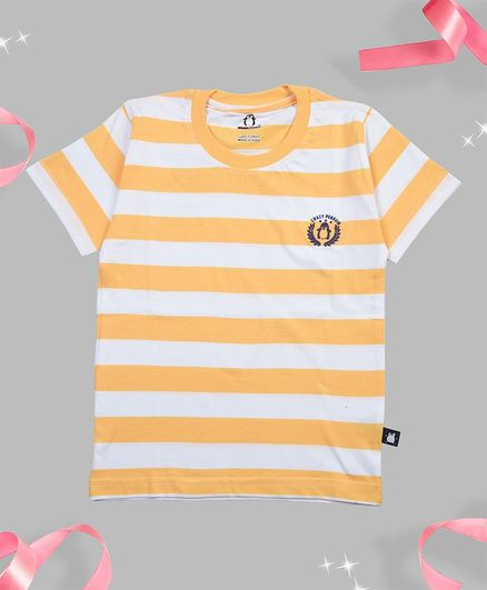 Crazy Penguin Half Sleeves Striped T-Shirt - Light Orange