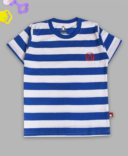Crazy Penguin Half Sleeves Striped T-Shirt - Blue