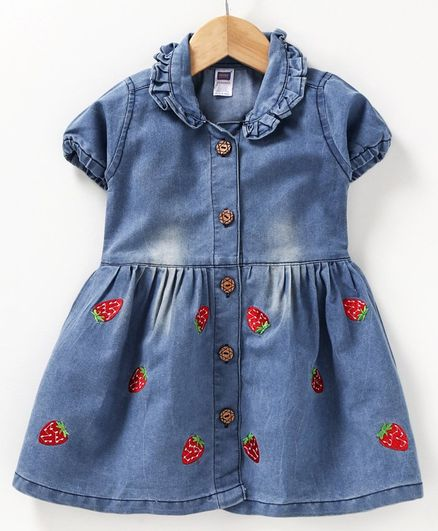 Nottie Planet Short Sleeves Collared Strawberry Patch Dress - Blue